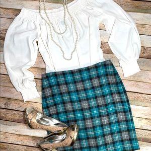 Talbots Plaid Wool Midi Skirt Sz 4P